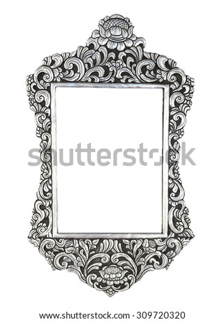 Silver metal ornate plate framed background  - stock photo