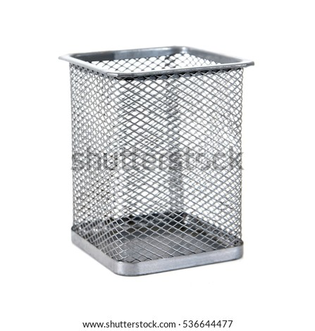 Silver metal pen pot basket isolated on white background.
