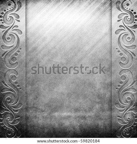 Silver metal plate with classic ornament (vintage collection) - stock photo