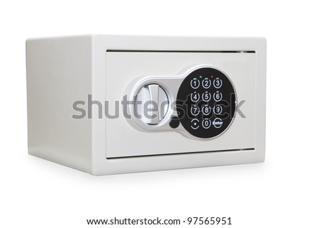 Silver metal safe box isolated over white - stock photo