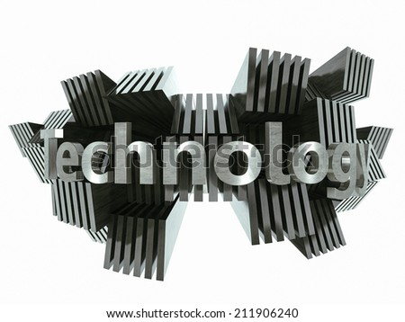 Silver metal technology sign abstract 3d illustration - stock photo