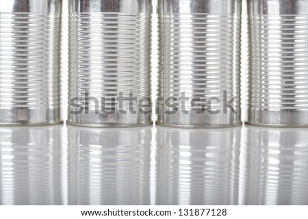 Silver metal tins, recycling, background, close up - stock photo