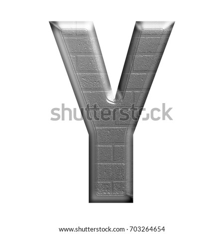 Silver metallic brick textured uppercase or capital letter Y in a 3D illustration in shiny chrome metal with an industrial stone wall style bold font isolated on a white background with clipping path.