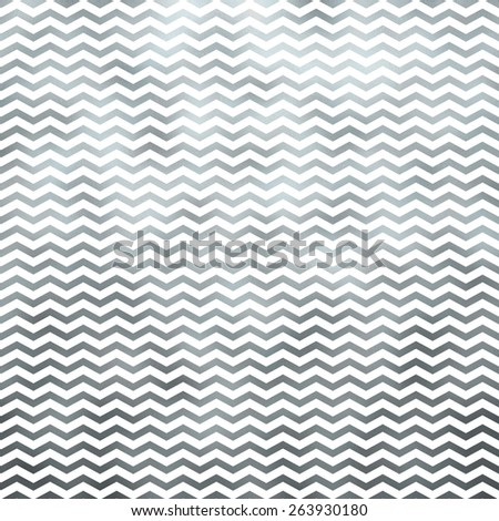 Silver Metallic Faux Foil on White Chevron Pattern Chevrons Texture Zig Zag Background - stock photo