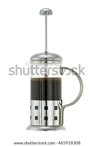 Silver metallic French press Coffee Pot with ground coffee and hot water inside, isolated on white background