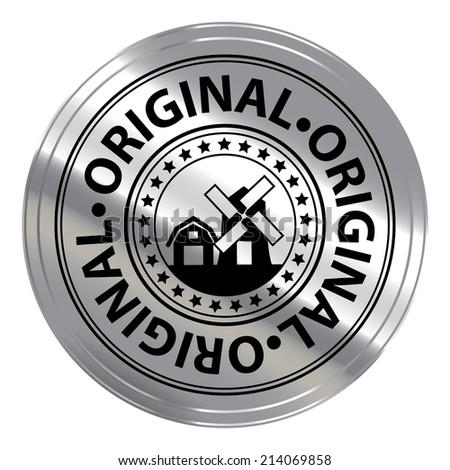 Silver Metallic Style Original Icon, Label or Sticker Isolated on White Background  - stock photo