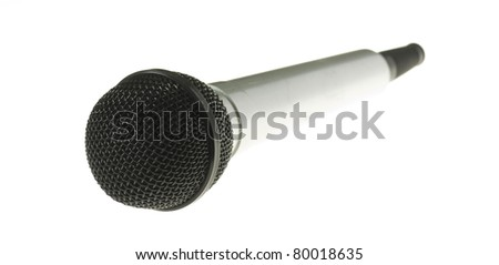 silver microphone isolated on a white background