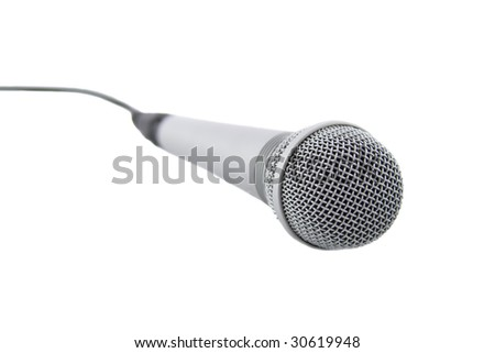 Silver microphone with cable isolated over white background