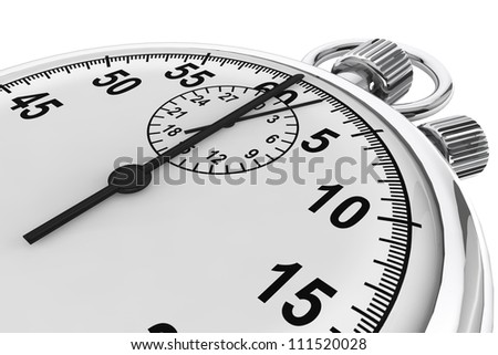 Silver modern Stopwatch on a white background - stock photo