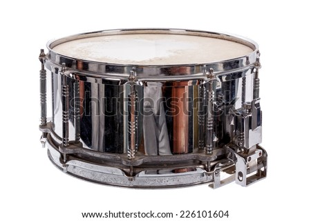 silver music plywood snare drum isolated on white background - stock photo