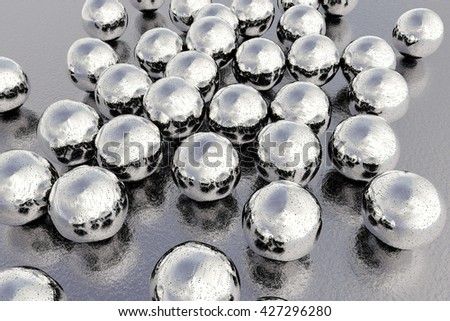 Silver nanoparticles. 3D illustration