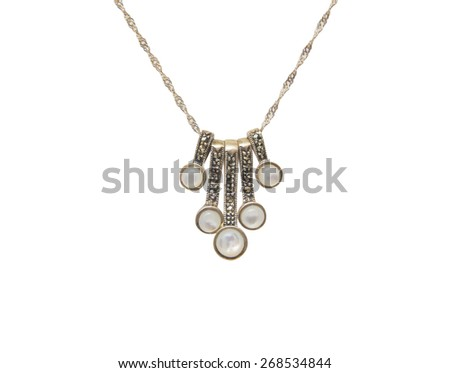 Silver necklace isolated on the white background - stock photo