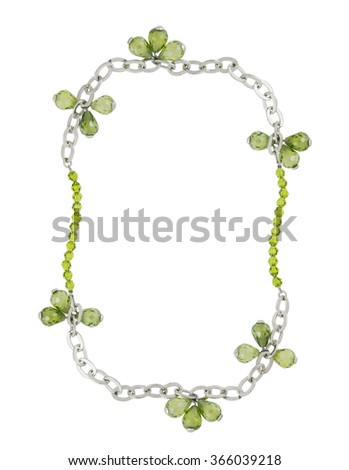 silver necklace isolated on white background - stock photo