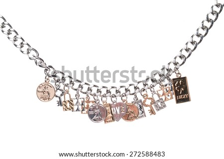 silver necklace  on a white background