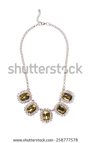 Silver necklace with sapphire on a white background - stock photo