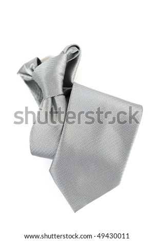 Silver Necktie on White - stock photo