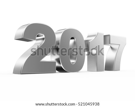 Silver New Year 2017 Symbol isolated on white background. 3D Rendering