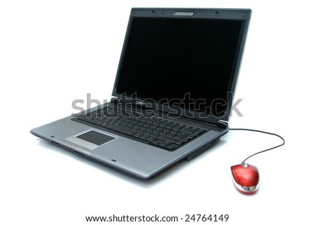 silver notebook and red computer mouse over white