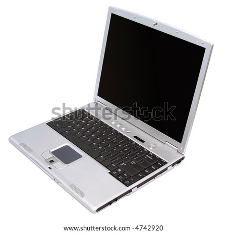 Silver notebook with black keybord isolated on white