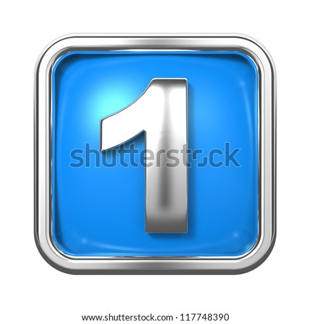 Silver Numbers in Frame, on Blue Background - Number 1 - stock photo