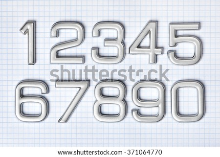 Silver numbers isolated on white background - stock photo