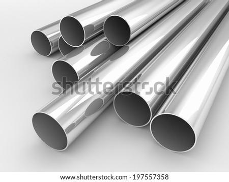 silver or metal tubes - stock photo