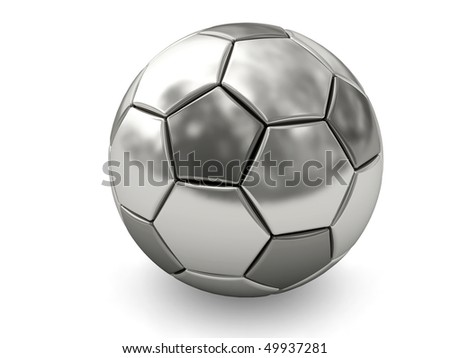 Silver or platinum soccer ball on white background rendered with soft shadows. High resolution 3D image - stock photo
