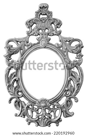 Silver ornate oval frame isolated on white background - stock photo