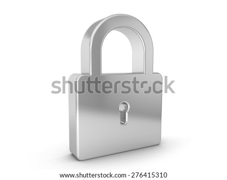 silver padlock symbol on a white background. - stock photo