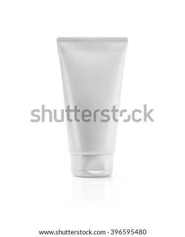 Silver pearliest tube mockup template for cosmetic cream or gel, ready to design isolated on white background