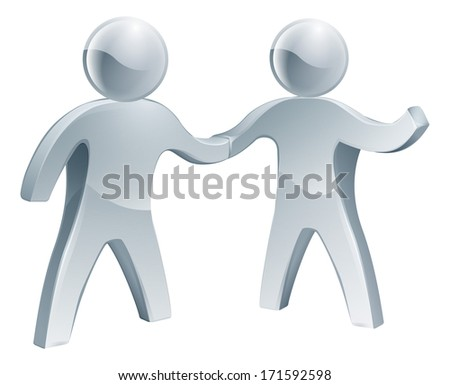 Silver people shaking hands, one happily raising his other arm. Recruitment or other business concept