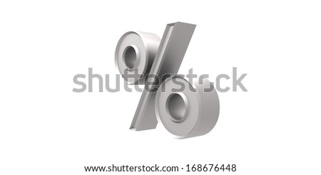 Silver  percentage - stock photo
