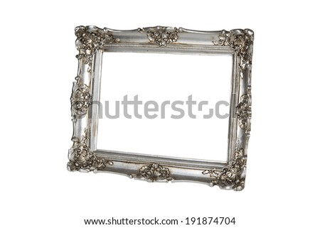Silver picture frame in perspective over white  - stock photo