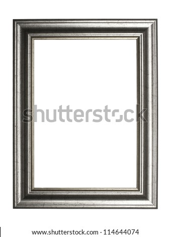 silver picture frame, isolated on white background - stock photo