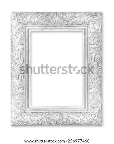 silver picture frame. Isolated on white background - stock photo
