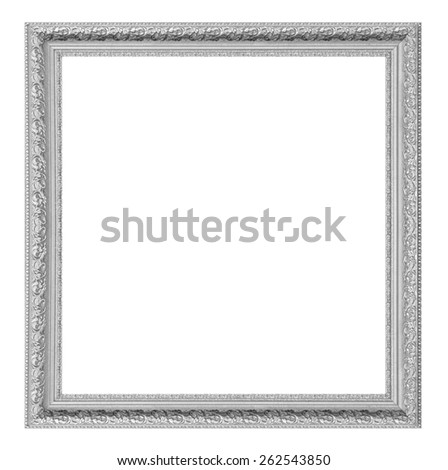 Silver picture frame isolated on white background. - stock photo