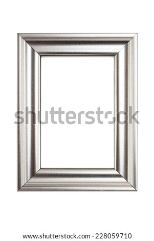 Silver picture frame isolated on white background with clipping path. - stock photo