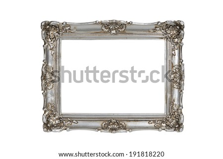 Silver picture frame over white  - stock photo