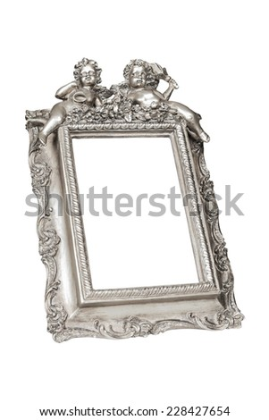Silver picture frame with angels isolated over white, clipping path. - stock photo