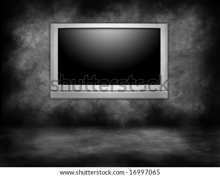 Silver Plasma Television Hanging on an Interior Wall in a Darkened Room - stock photo