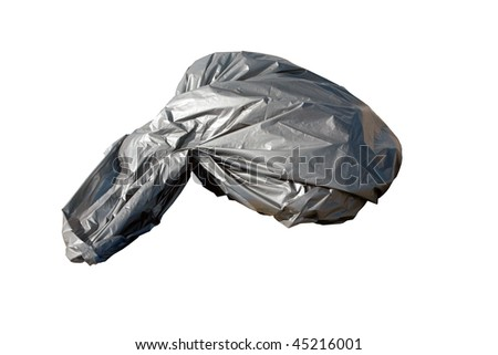 silver plastic bag of trash isolated on white with room for your text - stock photo