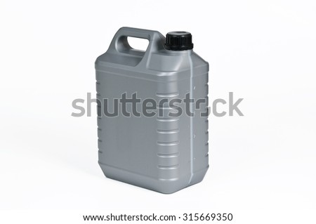 Silver plastic jerrycan on white background.
