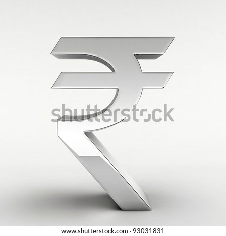 Silver plated Indian Rupee symbol