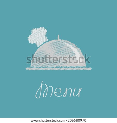 Silver platter cloche and chefs hat. Scribble effect.  - stock photo