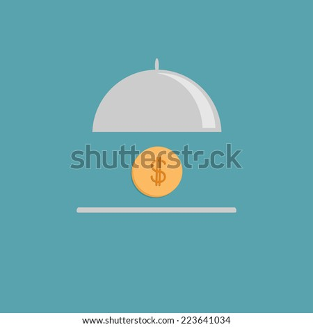 Silver platter cloche and gold dollar coin. Flat design style.  - stock photo