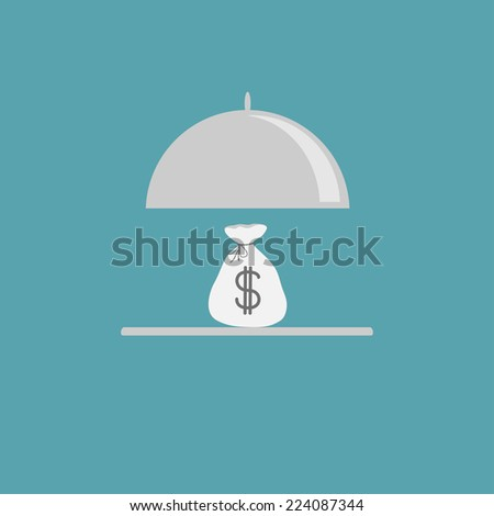 Silver platter cloche and money bag. Flat design style.  - stock photo