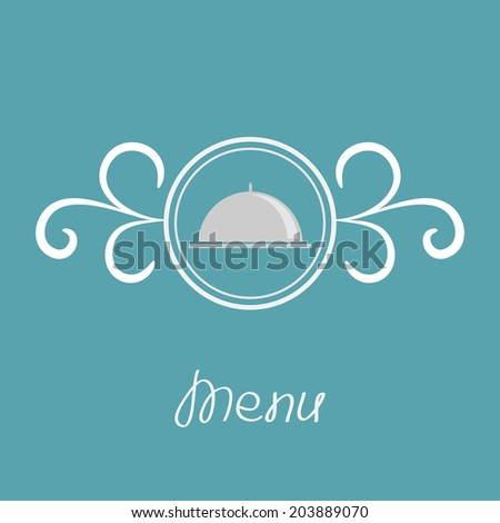Silver platter cloche and round frame with calligraphic design element.  - stock photo