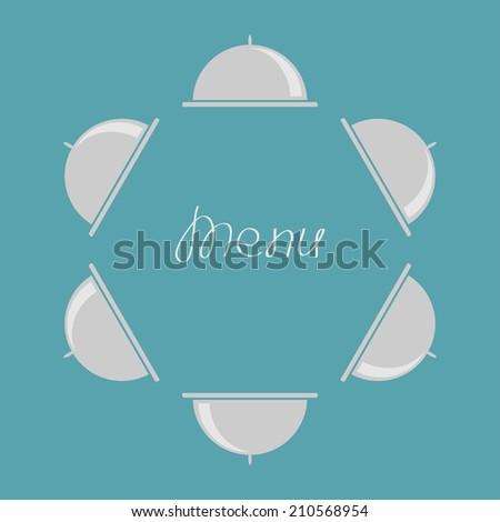 Silver platter cloche round frame. Flat design. Menu cover. - stock photo