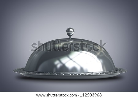 silver platter or cloche with space to place object  3d render - stock photo