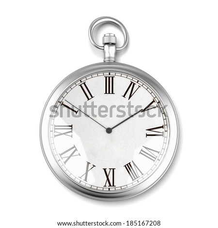 silver pocket watch - stock photo